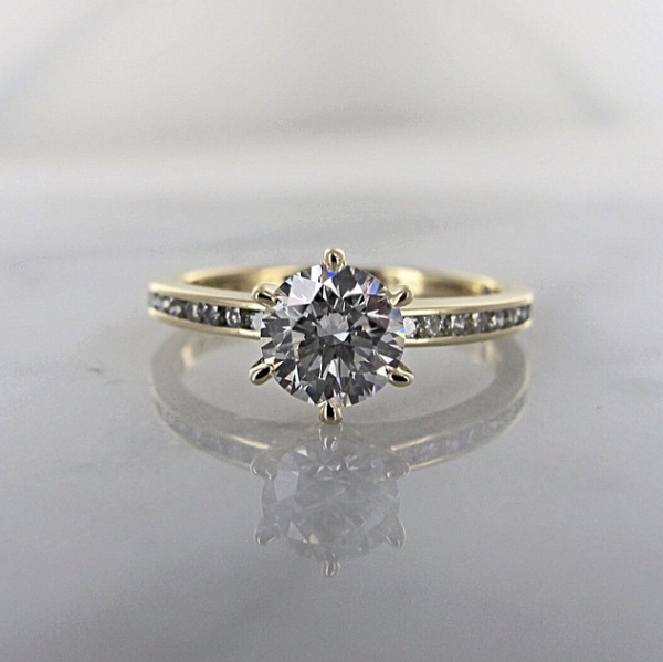 yellow gold channel set engagement ring