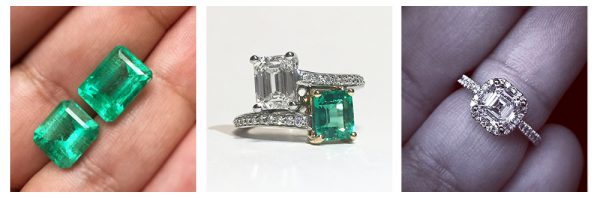 emerald and asscher cut engagement rings
