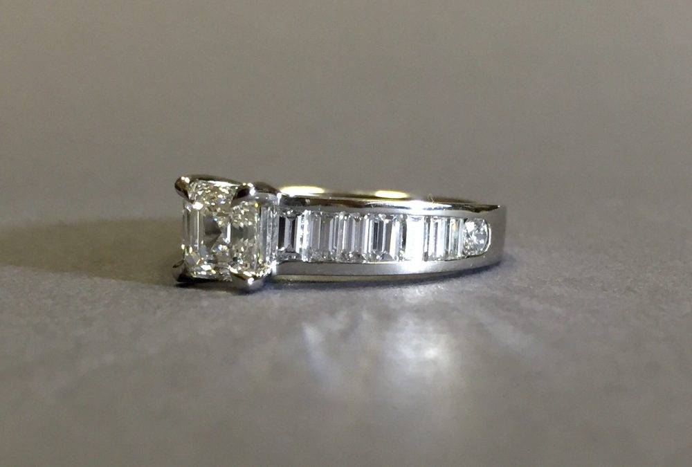 platinum princess cut diamond with diamond baguette band