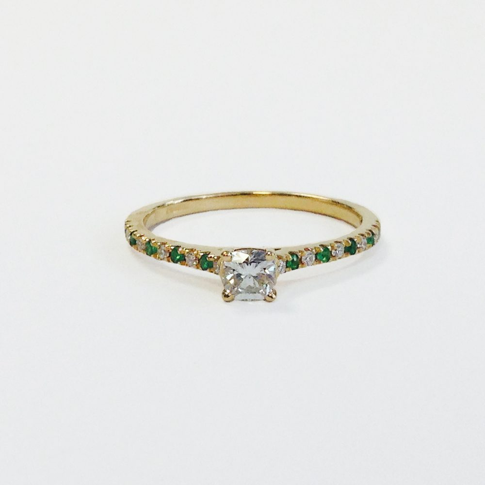 tsavorite pave engagement ring