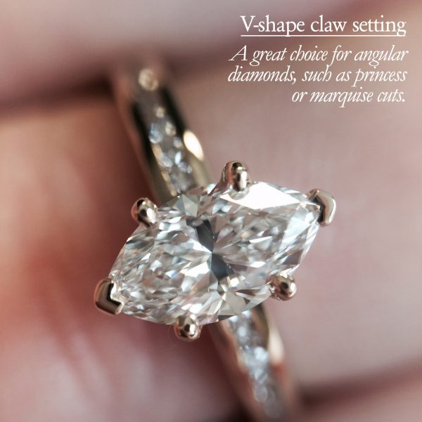 v shape claw setting