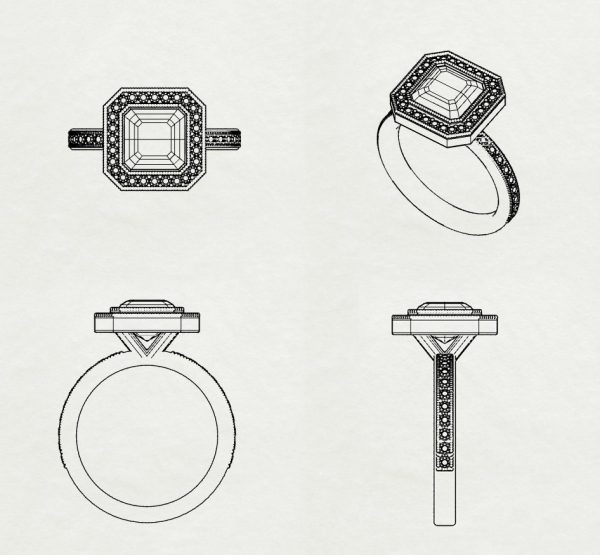 art-deco engagement ring sketch