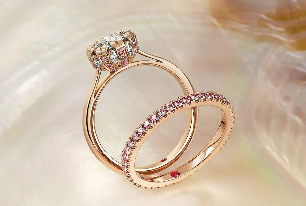 pave set engagement ring and wedding band