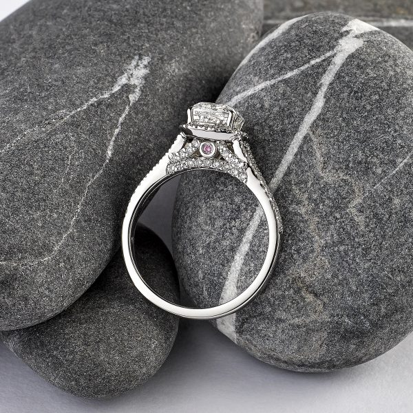 cushion cut diamond with diamond halo and split shank with pave side diamond details