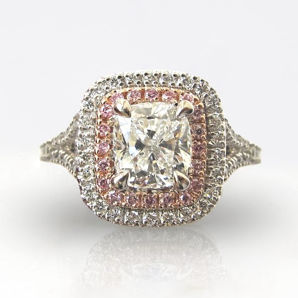 cushion cut diamond with double white and pink diamond halo