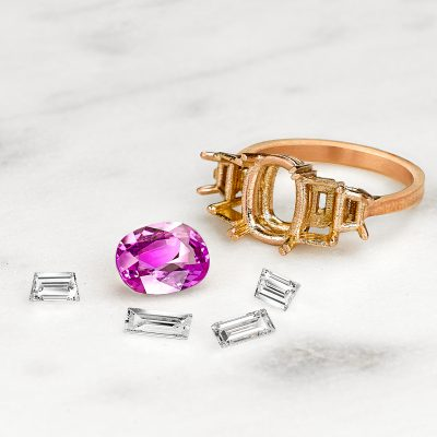 deconstructed custom pink sapphire engagement ring
