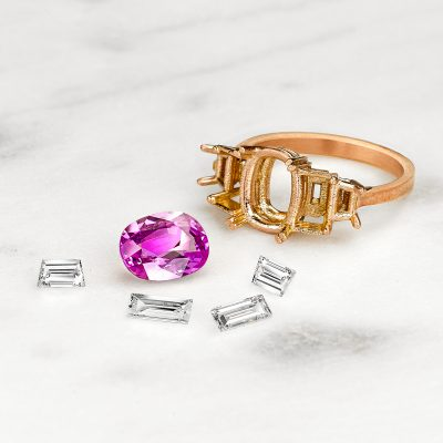 deconstructed pink sapphire ring
