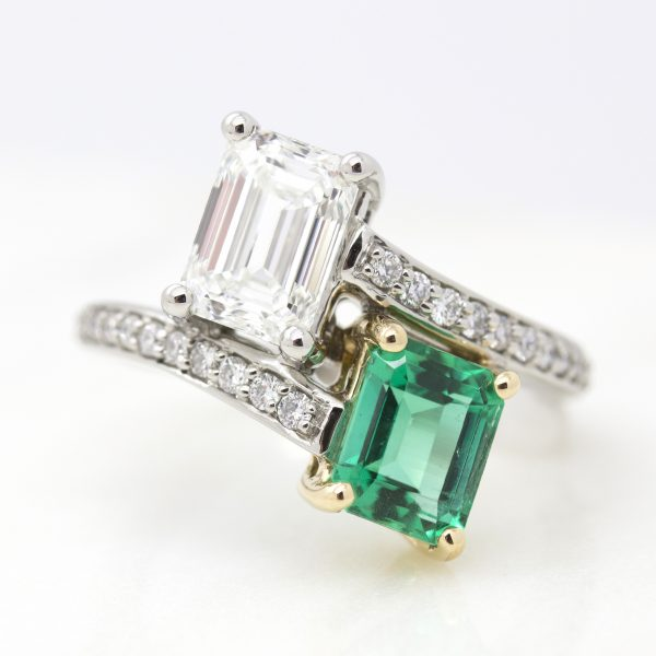 emerald cut emerald and diamond with bead set diamond band
