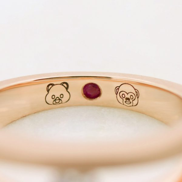 emoji engraving and ruby signature stone