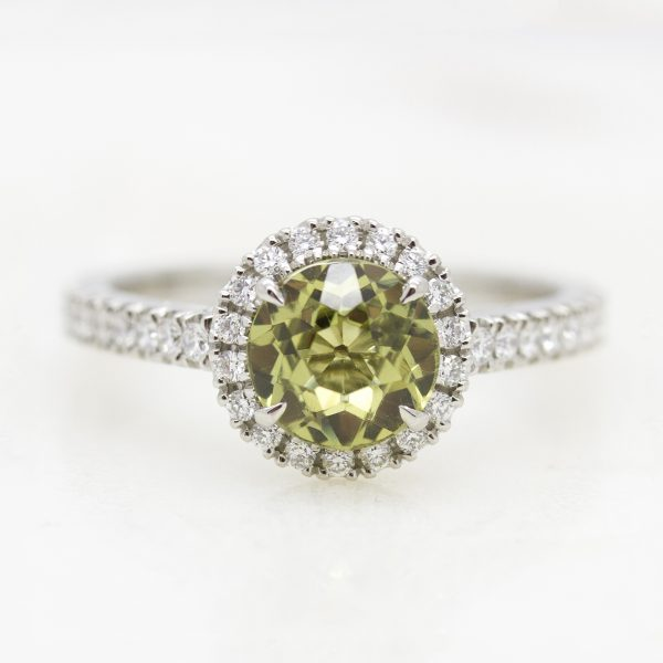 green sapphire diamond halo engagement ring