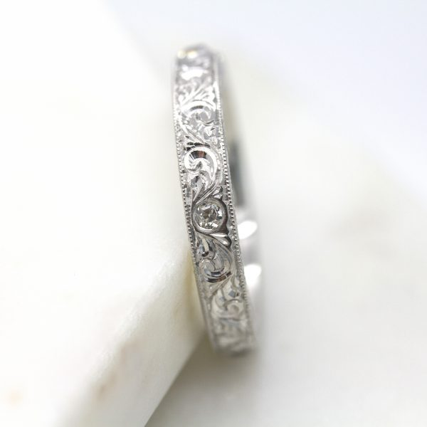 old european cut diamonds set in a hand engraved band