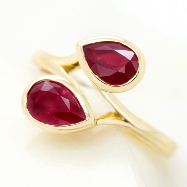 pear shape ruby moi et toi yellow gold engagement ring