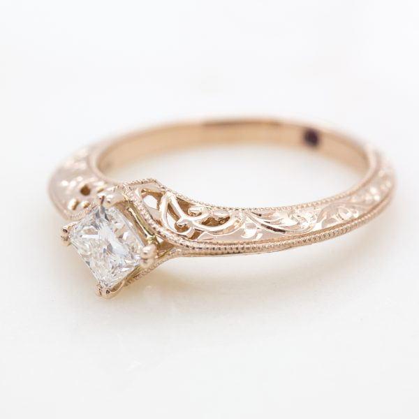 princess cut diamond engagement ring with filigree and milgrain detail2