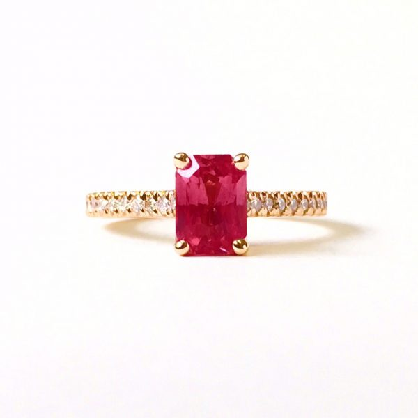 radiant cut ruby engagement ring with diamond pave