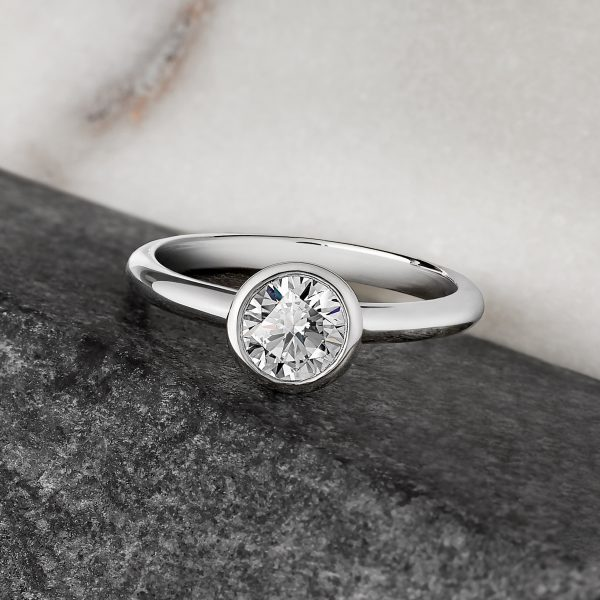 round diamond bezel set engagement ring