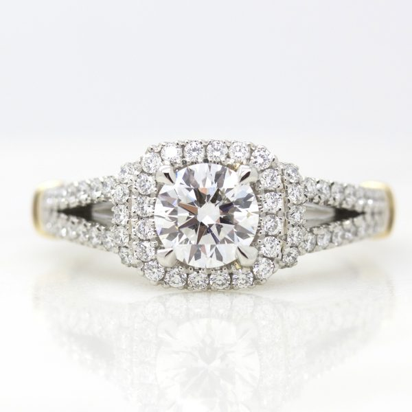 round diamond halo engagement ring with split shank