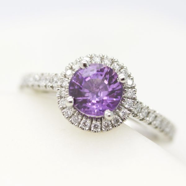 round purple sapphire diamond halo engagement ring