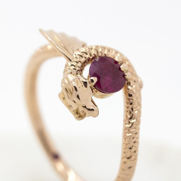 round ruby dragon inspired engagement ring in rose gold