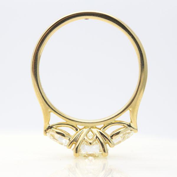yellow gold diamond trilogy engagement ring