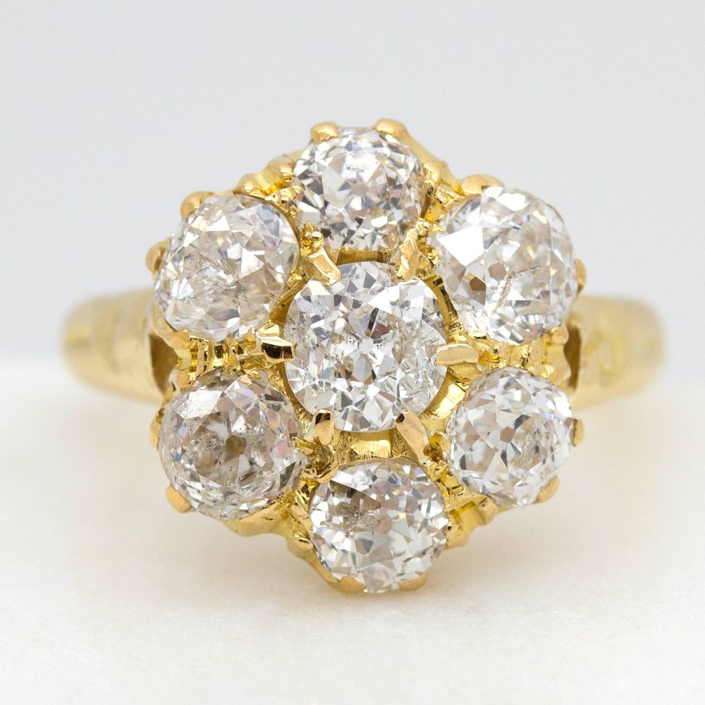 old european cut diamond cluster ring in yellow gold