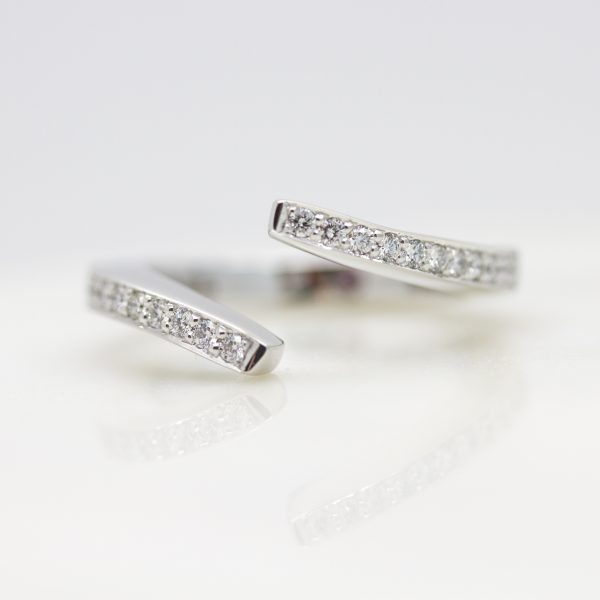 bypass diamond pave set wedding ring