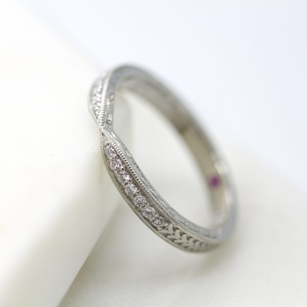diamond bead set wedding band with milgrain and hand engraving detail