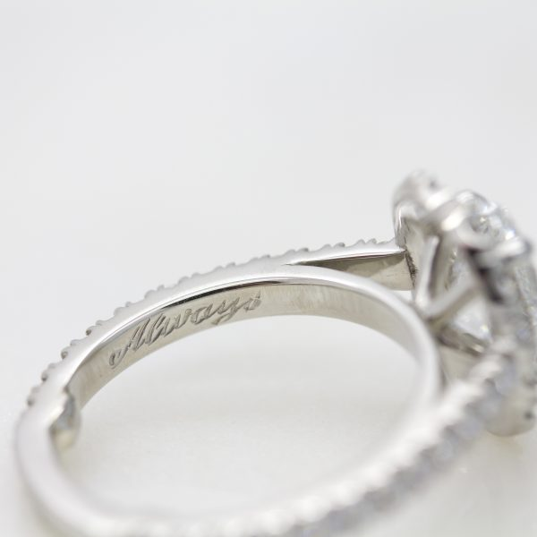 engagement ring with hand engraving