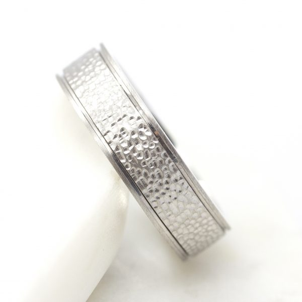 pebble finish platinum wedding ring band