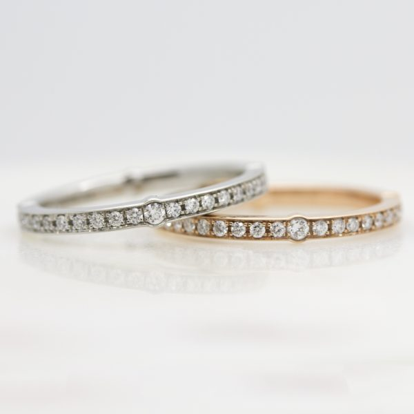 rose gold and platinum diamond pave wedding rings