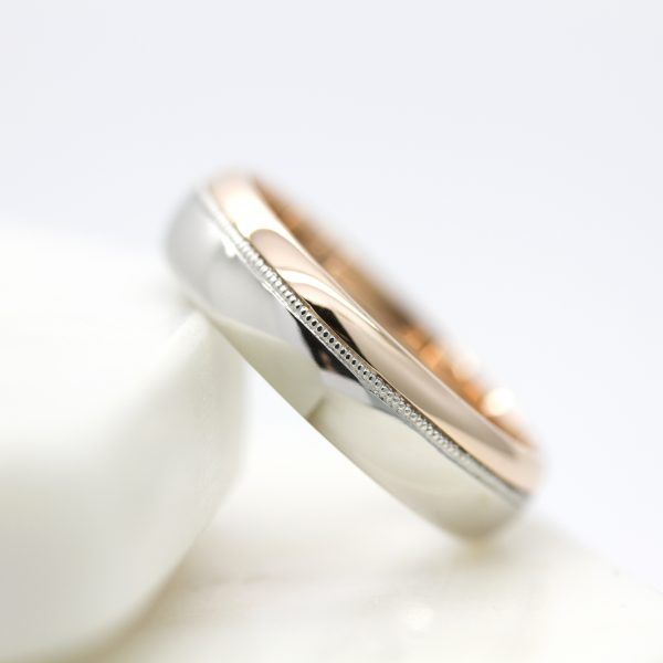 two tone mixed metal wedding ring platinum and rose gold