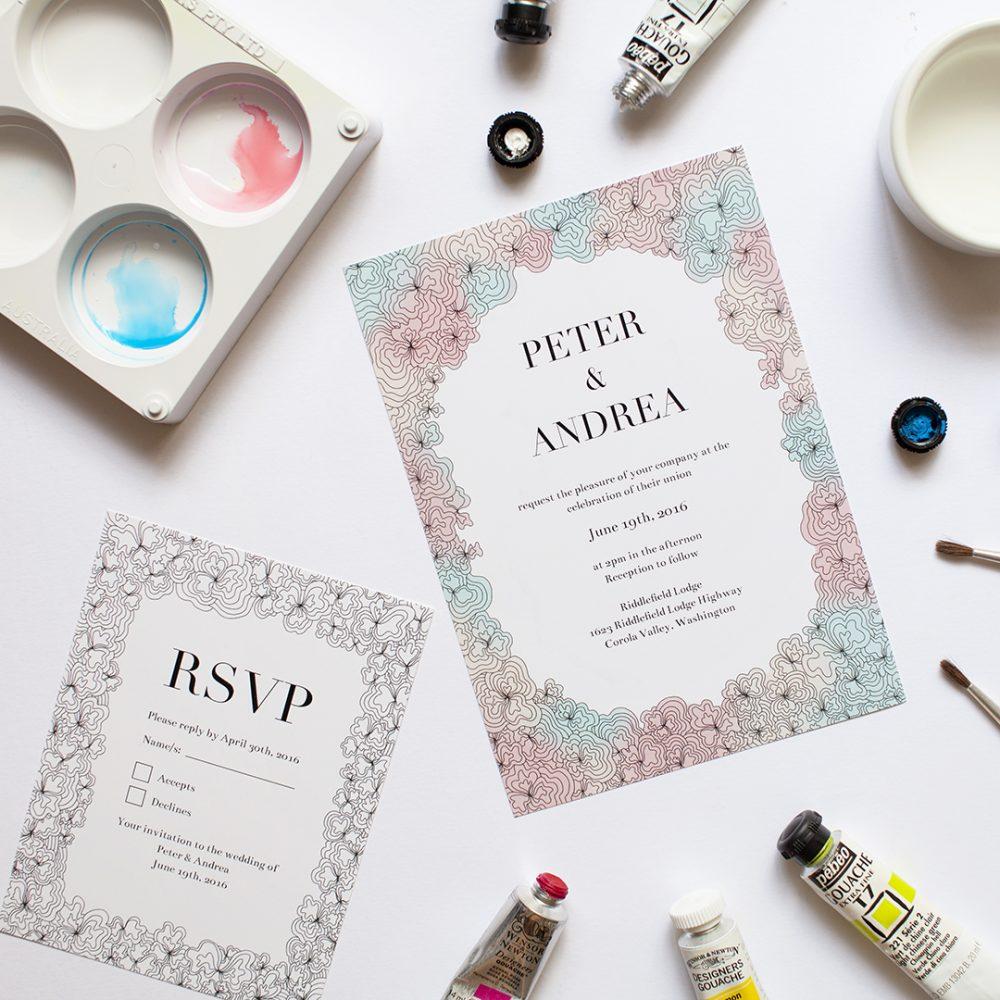 watercolor custom invite