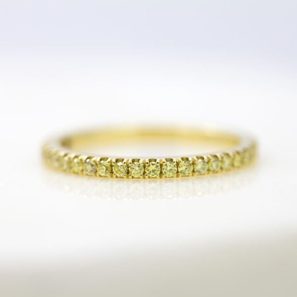yellow diamond pave wedding band set in yellow gold