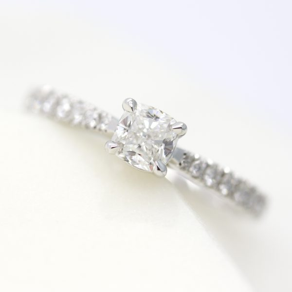 cushion cut diamond pave engagement ring