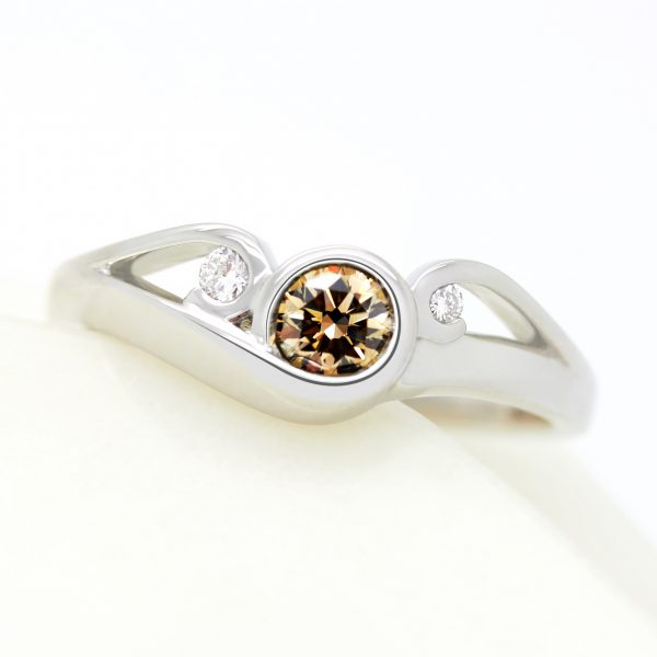 brown diamond vine swirl organic engagement ring