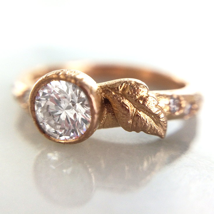 brushed rose gold leaf inspired organic engagement ring