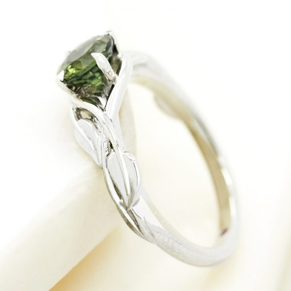 green sapphire organic leaf nature inspired engagement ring