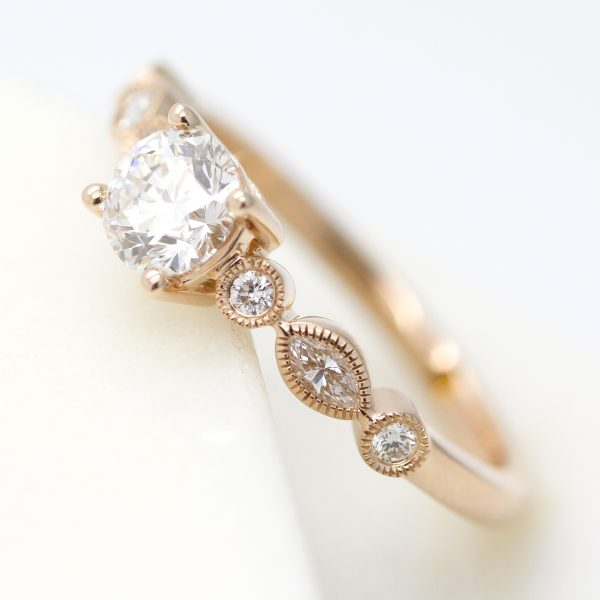 rose gold vine organic engagement ring