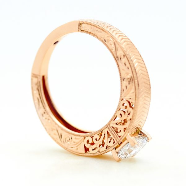 rose gold engagement ring with filigree, chevron hand engraving and delicate milgrain