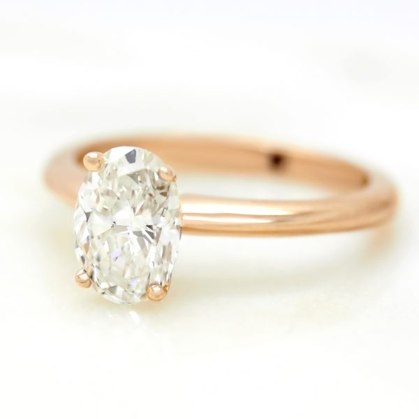 oval diamond rose gold solitaire engagement ring