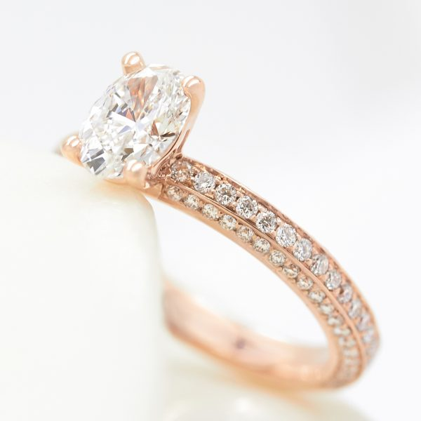 oval diamond rose gold three row diamond pave engagement ring