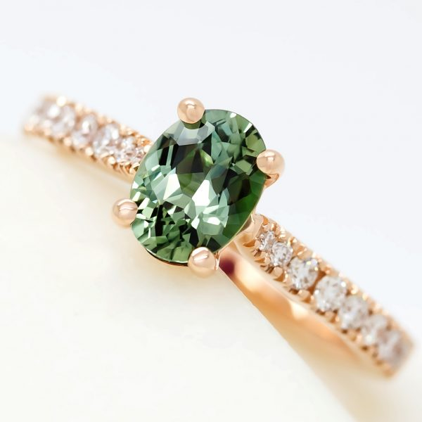 oval green sapphire diamond pave rose gold engagement ring