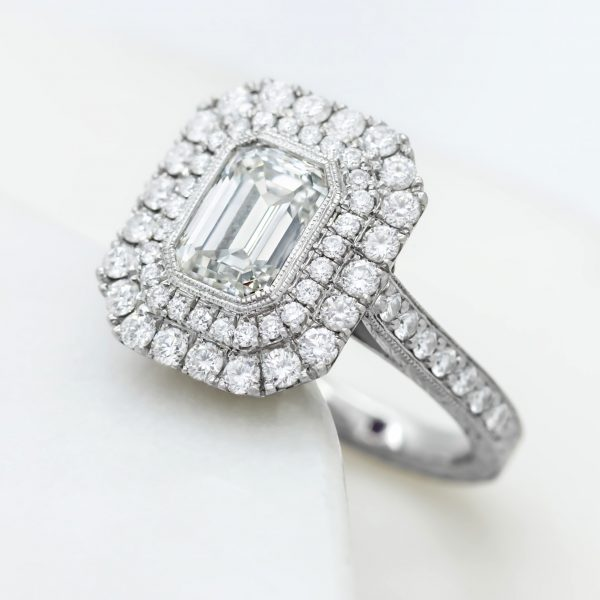 emerald cut diamond double diamond halo engagement ring