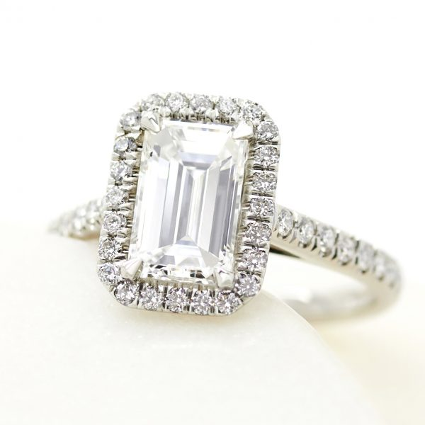 emerald cut diamond platinum halo engagement ring