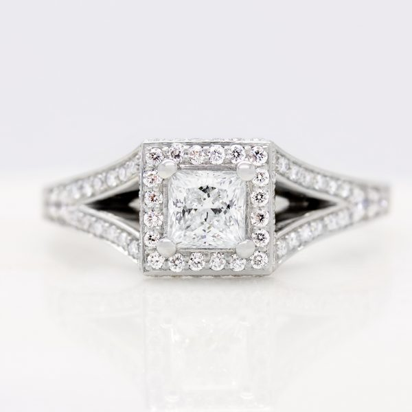 princess cut split shank diamond halo engagement ring