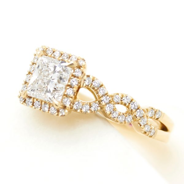 princess diamond halo engagement ring in yellow gold