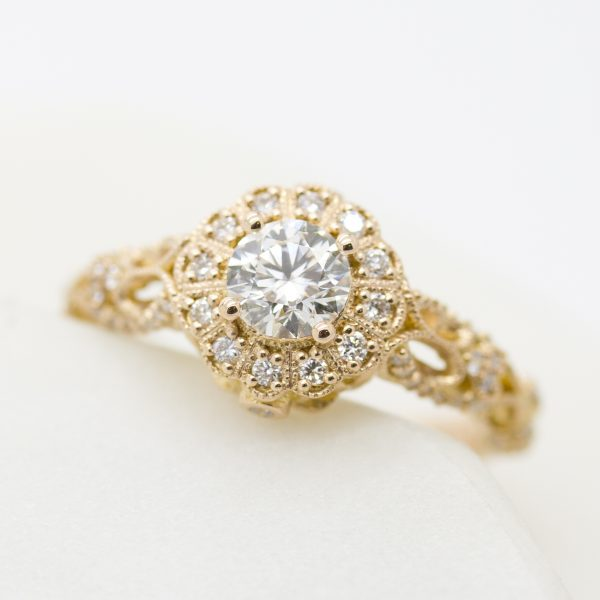 rose gold milgrain and filigree diamond halo engagement ring