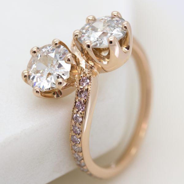 bespoke moi et toi rose gold engagement ring