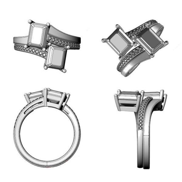 toi et moi bespoke engagement ring design