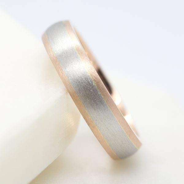 mixed metal matte finish mens wedding ring
