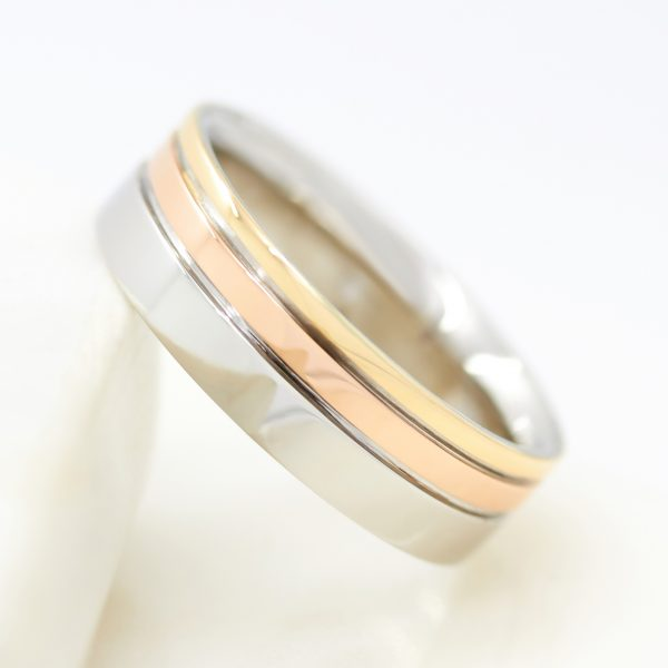 mixed metal mens wedding ring